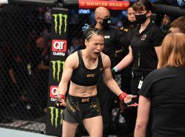 Rose Namajunas won the UFC women's strawweight title for the second time in her career, knocking out Zhang Weili in the first round at UFC 261. (Image: Josh Hedges/Zuffa)