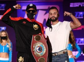 Emanuel Navarrete (left) will defend his WBO featherweight title against Christopher Diaz on Saturday night. (Image: Mikey Williams/Top Rank/Getty)