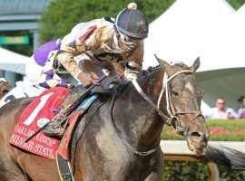 Silver State emerged from a six-wide cavalry charge to capture Saturday's Grade 2 Oaklawn Handicap. That was his fifth consecutive victory dating to last October. (Image: Coady Photography)