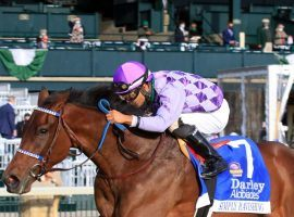 Simply Ravishing won her first three races, including this victory in the Alcibiades. After missing the board twice, she seeks a return to that form in Saturday's Grade 1 Ashland Oaks at Keeneland. (Image: Keeneland Photo)
