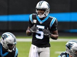 Quarterback Teddy Bridgewater (5), seen here calling an audible for the Carolina Panthers last season, joins his fifth NFL team after the Denver Broncos acquired him in a trade. (Image: Getty)