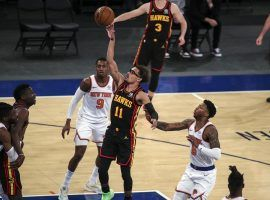 Trae Young of the Atlanta Hawks, seen here driving the lane against the New York Knicks, before his ankle injury. (Image: Wendell Cruz/USA Today Sports)