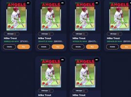 Several versions of the Legendary Mike Trout Topps MLB NFT remain on sale on the Atomic Hub marketplace, after the No. 1 serial sold for over $87,000 on April 22. (Image: Atomic Hub)