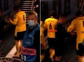 Sovre asks Haaland for an autograph on his cards following City vs Dortmund in the Champions League. Photo: BT Sport