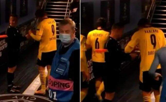 Sovre asks Haaland for an autograph after City vs Dortmund in the Champions League. Photo: BT Sport