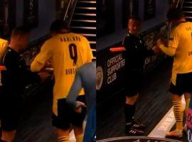 Erling Haaland signing Sovre's cards after Man City - Dortmund in the Champions League | Photo: BT Sport