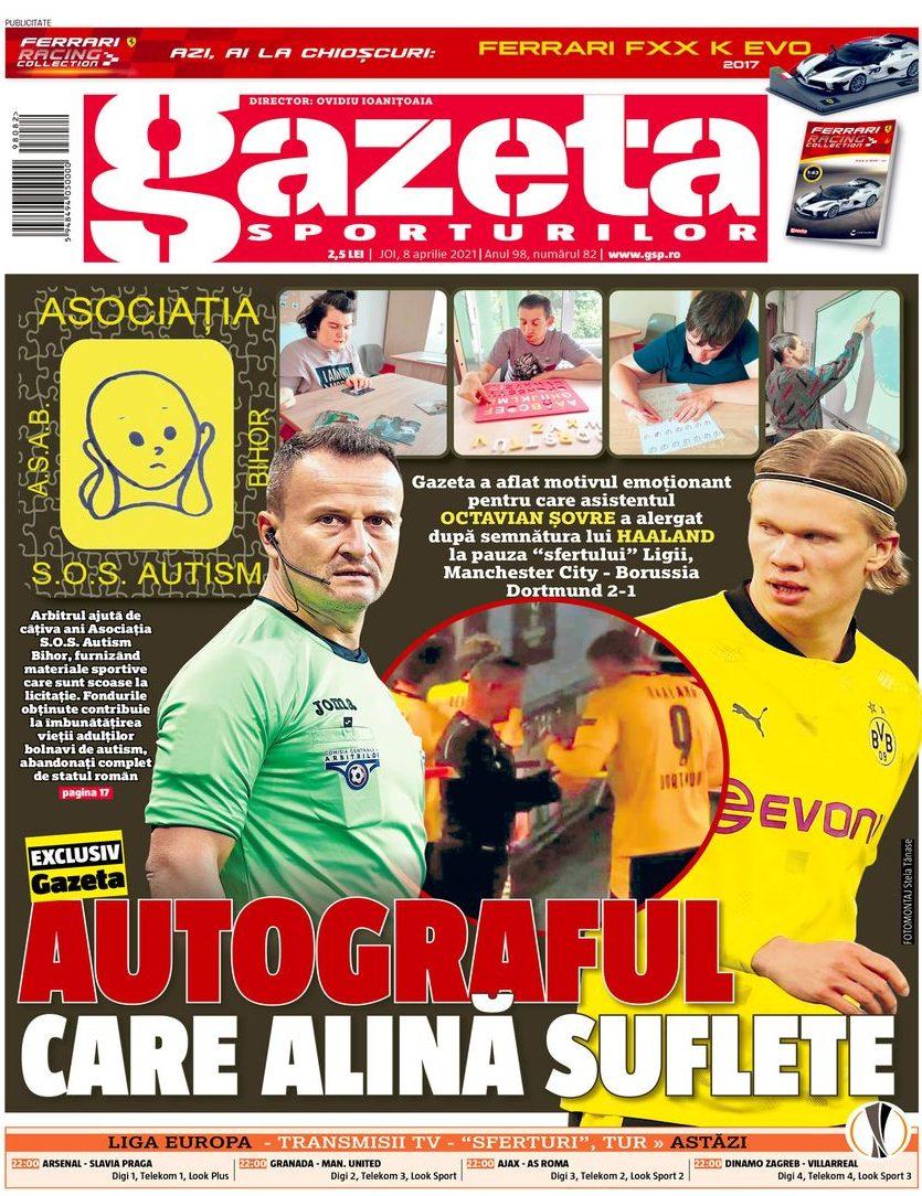 Prima pagină a ziarului românesc Gazeta Sporturilor Joi |  Foto: gsp.ro