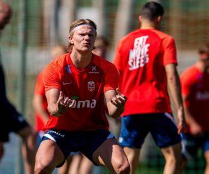 Erling Haaland in training with Norway
