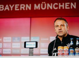 FC Bayern's coach Hansi Flick answering the media's questions at the club's media center. (Image: Twitter / @FCBayern)