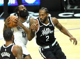 James Harden and Kawhi Leonard collide during a Brooklyn Nets and LA Clippers game earlier in the season. (Image: Jayne Kamin-Oncea/USA Today Sports)