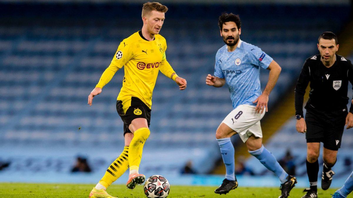 Match action from Manchester City's 2-1 win over Borussia Dortmund in the Champions League quarterfinal first leg (Photo: @BVB / Twitter)