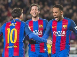Messi and Neymar celebrate together after the Argentinian scores vs Athletic Bilbao (2017) Source: fcbarcelona.com
