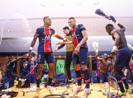 PSG's players celebrate knocking out trophy holders Bayern Munich in the Champions League quarterfinals. Image: Twitter / @PSG_Inside