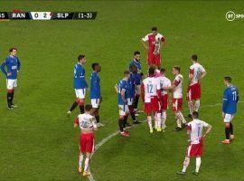 Slavia's Ondrej Kudela was given a 10-match suspension for racially abusing Rangers' Glen Kamara in a Europa League game. Image: BT Sport