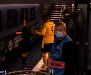 Romanian assistant referee Octavian Sovre asked Erling Haaland for his autograph following the game he played in Manchester, against City (Photo: BT Sport)