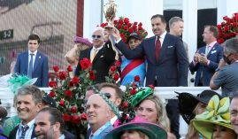 Trainer Bob Baffert, jockey John Velazquez and owner Amr Zedan celebrate Medina Spirit's Kentucky Derby victory last Saturday. The celebration may end after the horse tested positive for an excessive amount of an anti-inflammatory. (Image: Churchill Downs/Coady Photography)