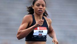 Allyson Felix competes in the 400 meters during the 2019 USATF Outdoor Championships. It was Felix' first competition donning Gap's Athleta brand after her deciding not toresign with Nike. (Image: Andy Lyons/Getty)