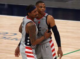 Bradley Beal and Russell Westbrook celebrate a big win over the Indiana Pacers. (Image: Ronald Martinez/Getty)
