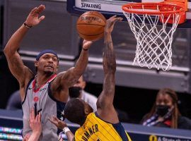 Bradley Beal from the Washington Wizards is seen here driving the basket against Edmond Sumner of the Indiana Pacers two weeks earlier in Indianapolis. (Image: Johan Wilkins/Getty)
