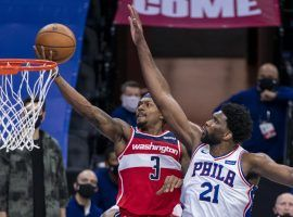 Bradley Beal of the Washington Wizards drives for a layup during a 60-point outburst against the Joel Embiid and the Philadelphia 76ers in January. (Image: Chris Szagola/AP)