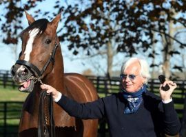 Trainer Bob Baffert and his prize 2020 charge, Authentic, arrive at Spendthrift Farm last fall. In the wake of Baffert's latest failed medication test, the large Kentucky breeding farm removed some horses from Baffert's barn. (Image: Rick Samuels)