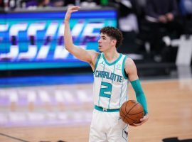 Charlotte Hornets point guard LaMelo Ball directs floor traffic for a Buzz City squad that's fighting for a postseason berth via the play-in tournament. (Image: Cary Edmondson/USA Today Sports)
