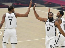 The Brooklyn Nets and their Big 3 – Kevin Durant, James Harden, and Kyrie Irving – are the public betting favorites to win the 2021 NBA championship and deny the LA Lakers a repeat. (Image: Getty)