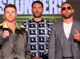 Canelo Alvarez (left) will take on Billy Joe Saunders (right) in a super middleweight title unification match on Saturday night. (Image: Ed Mulholland/Matchroom Boxing)