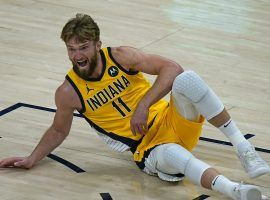 Domantas Sabonis of the Indiana Pacers are jockeying for a spot in the Eastern Conference play-in tournament. (Image: Rick Bowmer/AP)