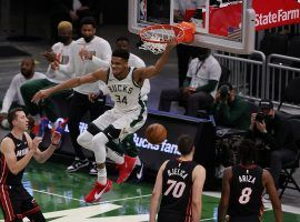 Giannis 'Greek Freak' Antetokounmpo unleashed a reverse dunk for the Milwaukee Bucks against the Miami Heat in one of the last games of the regular season. (Image: Stacey Revere/Getty)