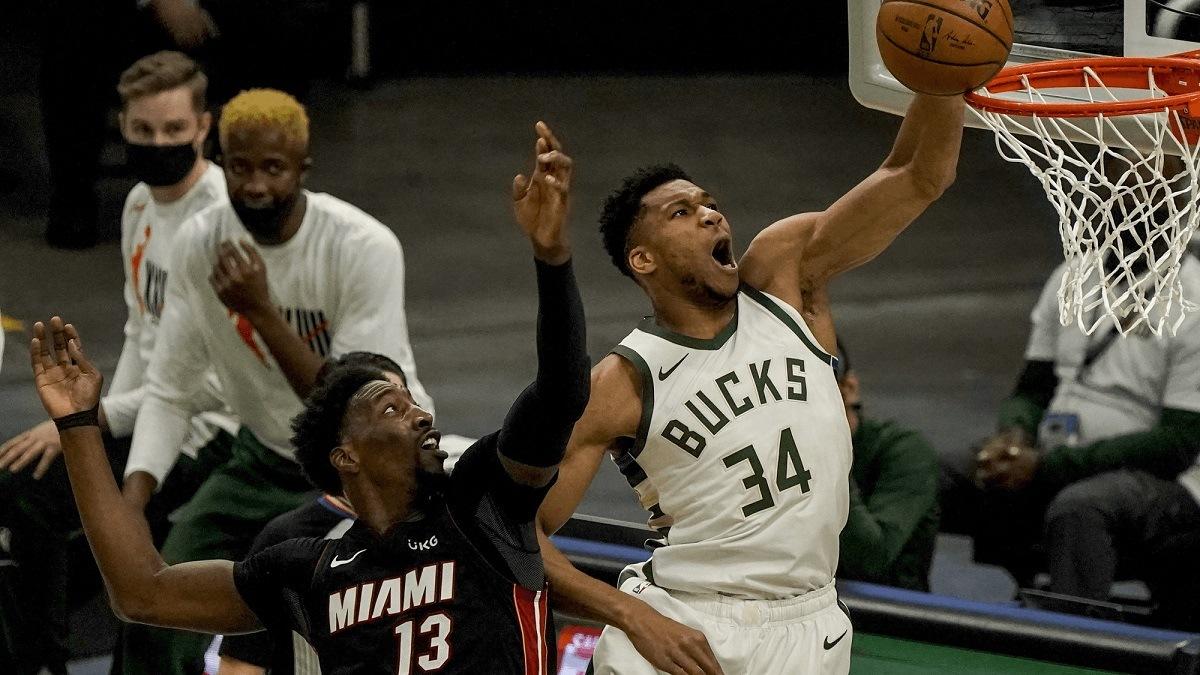 Milwaukee Bucks Miami Heat Greek Freak Bam Adebayo playoffs series Down 0-2