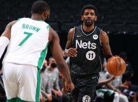 Jaylen Brown (7) of the Boston Celtics defends Kyrie Irving from the Brooklyn Nets during a regular season meeting. (Image: Getty)