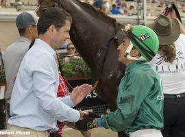 Trainer Leonard Powell, seen here with jockey Rafael Bejarano after the pair won the Cougar II Handicap at Del Mar in 2018, put in a record $150,000 claim for a 3-year-old filly Saturday. (Image: Benoit Photo)