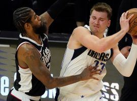 Paul George of the LA Clippers defends Luka Doncic from the Dallas Mavericks in Game 1 of their first-round series in the 2020 NBA Playoffs. (Image: Getty)