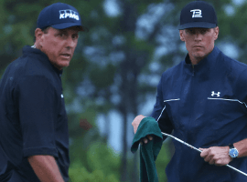 Phil Mickelson (left) and Tom Brady (right) will team up once again to take on Bryson DeChambeau and Aaron Rodgers in the latest edition of The Match. (Image: Mike Ehrmann/Getty)
