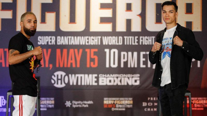 Luis Nery (left) will defend his super bantamweight title against Brandon Figueroa (right) on Saturday night in California. (Image: Esther Lin/Showtime)