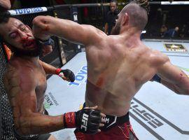 Jiri Prochazka scored just the third spinning back elbow knockout in UFC history to defeat Dominick Reyes on Saturday night. (Image: Jeff Bottari/Zuffa)
