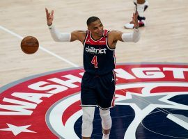 Russell Westbrook had a monstrous performance and triple-double in a must-win game for the Washington Wizards against the Indiana Pacers at the Capital One Arena in Washington, DC. (Image: Getty)