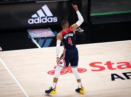 Russell Westbrook of the Washington Wizards sets the NBA allt0ime triple-double record in the fourth quarter against the Atlanta Hawks at State Farm Arena. (Image: Casey Sykes/Getty)