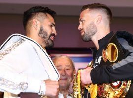 Jose Ramirez (left) and Josh Taylor (right) will fight for the undisputed unified super lightweight championship on Saturday. (Image: Mikey Williams/Top Rank/Getty)