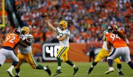 Green Bay Packers quarterback Aaron Rodgers, seen here during a 2019 game against the Denver Broncos, is rumored to head to the Broncos in a trade. The Broncos saw their Super Bowl 56 odds explode over the weekend based on the Rodgers rumor. (Image: Justin Edmonds/Getty)