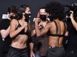 Marina Rodriguez (left) will take on Michelle Waterson (right), with the two strawweight fighters facing off at flyweight on short notice. (Image: Chris Unger/Zuffa)