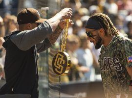 The San Diego Padres have won nine straight, and have introduced a chain to celebrate individual success in the dugout. (Image: Matt Thomas/San Diego Padres/Getty)