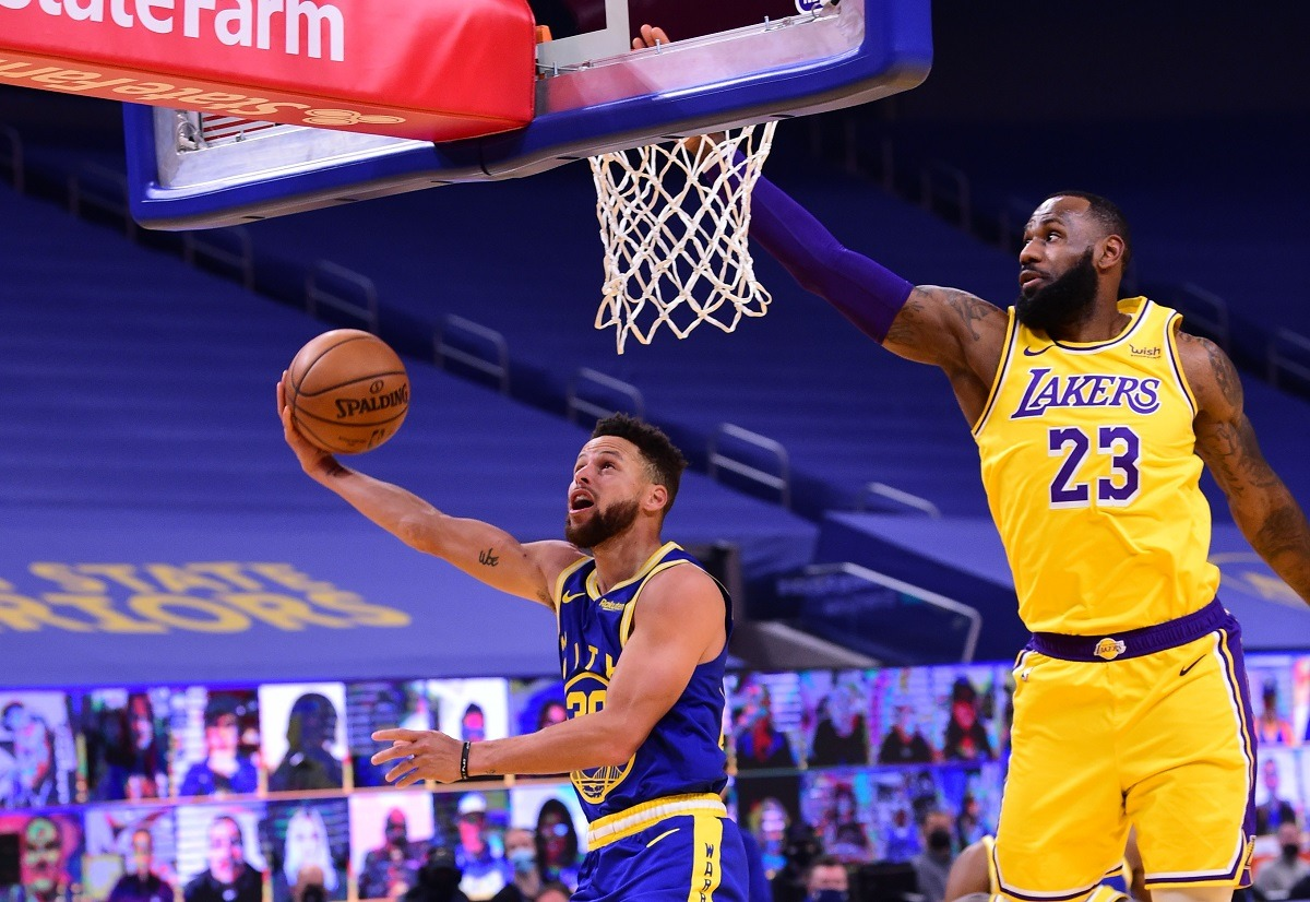 LeBron James Steph Curry NBA Play-in Tournament Seven-Eight Game Golden State Warriors LA Lakers