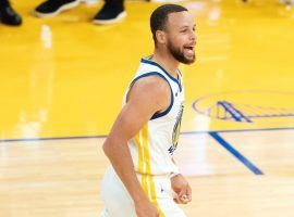 NBA scoring champ Steph Curry from the Golden State Warriors celebrates a 3-pointer against the Memphis Grizzlies. (Image: Getty)