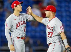 Mike Trout (right) and Shohei Ohtani (left) of the Los Angeles Angels have established themselves as the leading candidates for the 2021 AL MVP Award. (Image: Nathan Ray Seebeck/USA Today Sports)