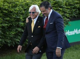 Bob Baffert (left) and Amr Zedan, the owner of Kentucky Derby champion Medina Spirit, enjoy a happy moment after the Kentucky Derby. One quirky prop bet asks if Zedan will replace Baffert as the horse's trainer. (Image: Getty)