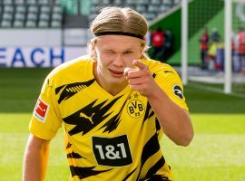 Erling Haaland celebrates after scoring a goal for Borussia Dortmund. (Image: Twitter / @BVB)