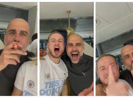 Pep Guardiola enjoying himself at City's title party. (Image: Twitter)