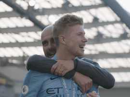 Pep Guardiola and Kevin De Bruyne share a moment after City won the Premier League this season. (Image: Youtube / BTSport)